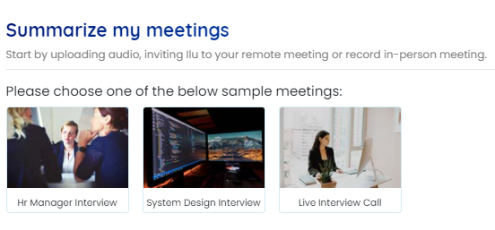 Choose any one of sample meetings on the Instaminutes dashboard