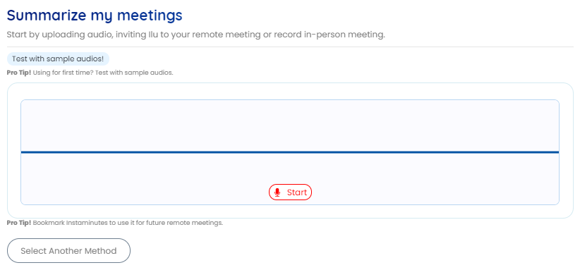 Press the start button to start in-person recording