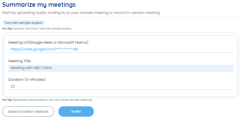 Enter your meeting URL, meeting title, and duration of the meeting