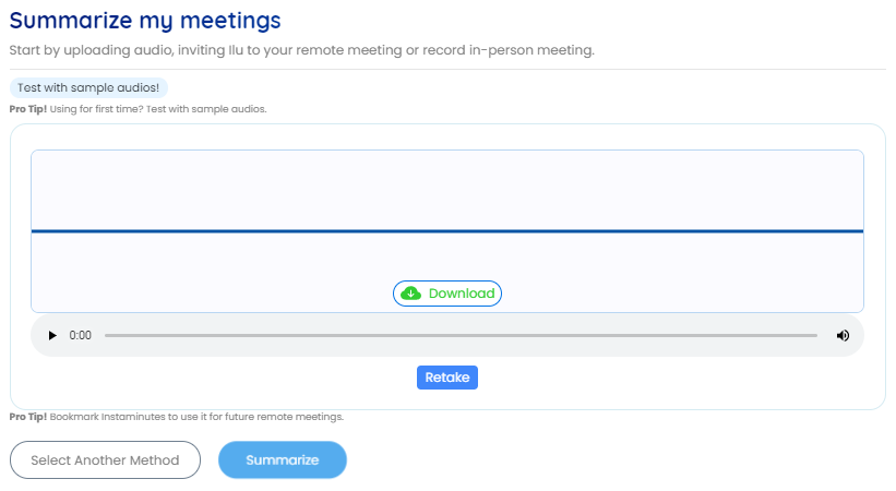 Press the stop button when the meeting is over. Click on the summarize button