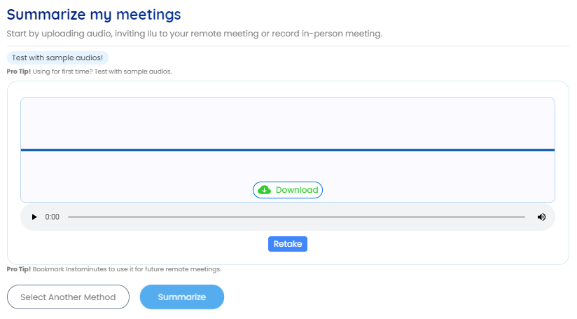 Press the summarize button to get meeting notes