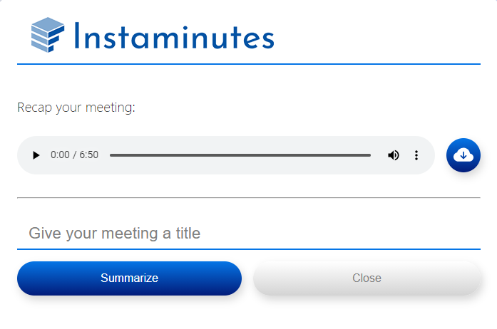 Give meeting title and press summarize button