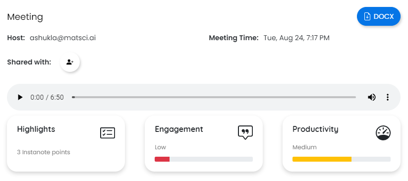 Add the email of participants to share meeting notes