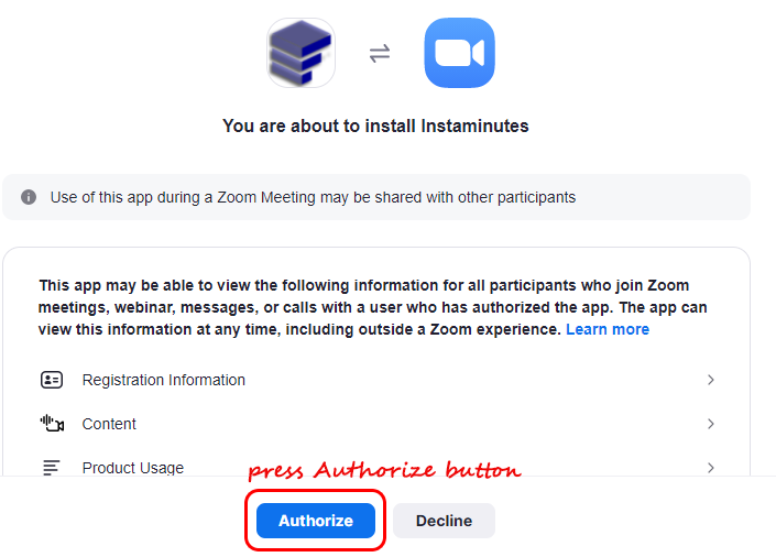 Press authorize button to connect Zoom