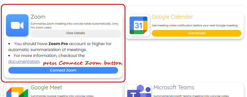Select zoom and click connect